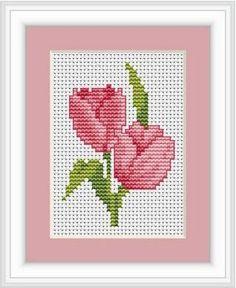 Kit cuadro de punto de cruz - Tulipanes rosas