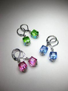 Les boucles d'oreilles Cube de cristal de Swarovski par Talllll