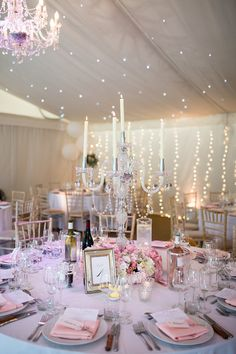Marquee with Fairy Lights & Candelabra & Floral Centrepieces - Jo Hastings Photography | Romantic Blush Pink Wedding at Iscoyd Park in Shropshire | Pronovias Bridal Gown | Debenhams Bridesmaid Dresses | Hugo Boss Suit
