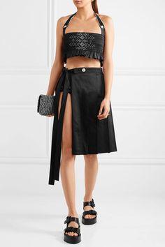 Miu Miu - Embroidered Smocked Cotton Shorts - Black - IT40