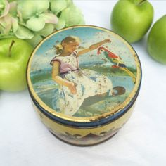 Adorable Vintage Parrot Tin Box, Little girl Bird, Thorne's Toffee canister Advertising, England English, trinket, storage, Nursery décor