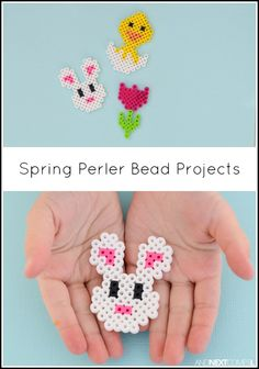 Spring & Easter perler bead craft projects for kids from And Next Comes L