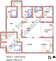 House plan for 32 feet by 40 feet plot plot size 142 for Apartment plans as per vastu