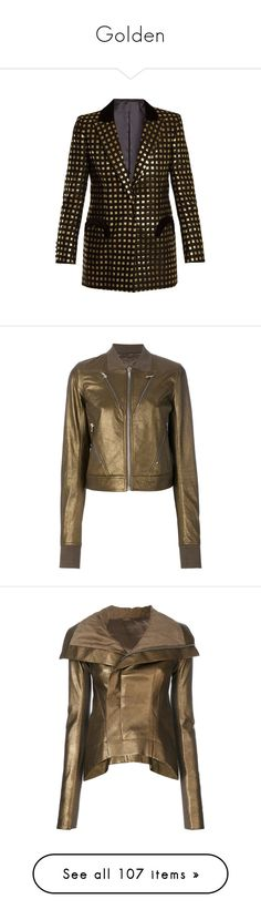"""""""Golden"""" by miss-amazing-grace ❤ liked on Polyvore featuring outerwear, jackets, blazers, black gold, evening wear jackets, embellished blazer, embellished jacket, gold metallic jacket, peaked lapel blazer and grey"""