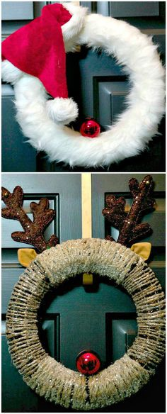 DIY Christmas Wreaths, This Fun Holiday Craft Will Leave You With A Cute Decoration, Pin Today ~ Santa and Rudolph