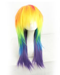 Rainbow Cosplay Wig Long Straight Costume Wig Party Wig