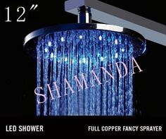 Free Shipping 12 inch LED shower head with brass 300 self-powered led shower head light shower three color 20005 #Affiliate