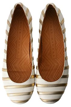 gold stripe flats