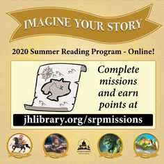 SUMMER READING PROGRAM UPDATE: In addition to filling up your reading logs on READsquared, you can also complete missions and earn points! Including writing prompts, videos and more. Join the fun at jhlibrary.org/srpmissions. 🔍 #SRP2020 #ImagineYourStory