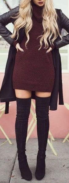 Lovely knit dress and over the knee boots