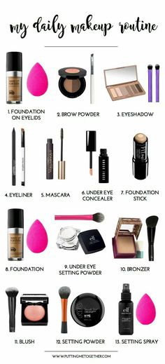 Put me together: my daily make-up routine Source by ale . - Put me together: My daily make-up routine Source by Related posts: My - Make Up Kits, Daily Make Up, How To Make Up, Makeup Brush Uses, Makeup Order, Everyday Makeup Routine, Everyday Makeup For School, Everyday Make Up, Make Up School