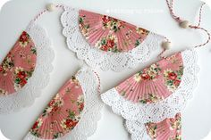 Shabby Banner Made With Cupcake Liners, Paper Doilies, Beads, & Twine
