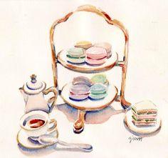 Paris Breakfast Watercolour by Carol Gillott