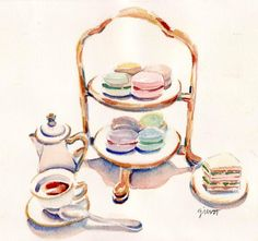 Paris Breakfast Watercolour by Carol Gillott