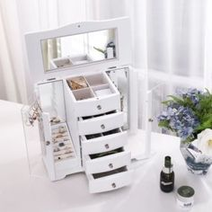 SONGMICS Large Wooden Jewellery Box with door made of Clear Acrylic, 4 Drawers White Country House Large Jewelry Box, Wooden Jewelry Boxes, Storage Boxes, Storage Spaces, Ballerina Jewelry Box, Vertical Storage, Deco Design, Wood Doors, Decoration