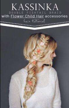 Double Fishtail Braid With Flower Child Hair Accessories  #Beauty #Trusper #Tip
