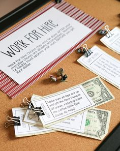 Use our free printables to create your own Work for Hire Chore Board! This post has been shared over 100,000 times on Pinterest already!