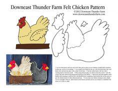 A Buff in the Box – Felt Chicken Ornament Pattern Ein Buff in der Box – Filz Huhn Ornament Muster Ornament Pattern, Felt Ornaments Patterns, Felt Patterns, Bird Patterns, Applique Patterns, Craft Patterns, Sewing Patterns, Felt Crafts, Fabric Crafts