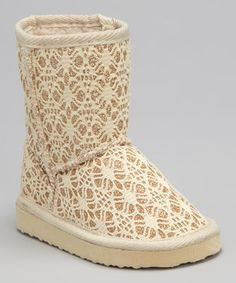 Look what I found on #zulily! Tan Glitter Lace Boot by Chatties #zulilyfinds