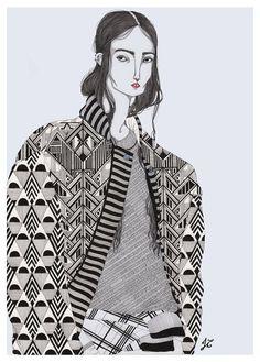 patternprints journal: WONDERFUL FASHION ILLUSTRATIONS WITH CRAZY PATTERNS BY JEREMY COMBOT