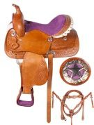 Western Crystal Purple Horse Barrel Trail Saddle 14