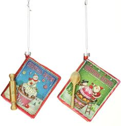 Recipe book Christmas ornaments in candy colors with cupcake santa and snowman design.  We have ornaments for your Candy Wonderland decorated Christmas tree.  Visit our by theme candy and sweets category. http://shelleybhomeandholiday.com/shop-by-theme/candy-and-sweets-christmas-decorations/