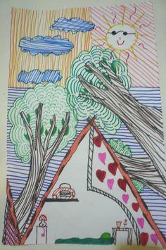 """""""Campamento"""" dibujo con fibras. Bárbara R."""