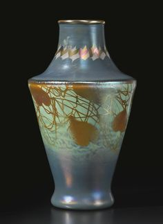 """STEUBEN GLASS WORKS A RARE """"TYRIAN"""" VASE engraved with indistinct mark aurene glass with intarsia decoration 8 3/8 in. (21.3 cm) high circa..."""