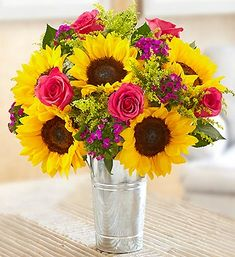 Sunflower Lover's Bouquet™ - yellow sunflowers, hot pink roses, Gypsy dianthus and solidaster make this a great gift for birthdays, anniversaries, or just because! #sunflowers #justbecause