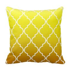 Fresh and bright yellow is bold and beautiful. It is the color of sunshine and happiness which is why using yellow throw pillows are a fantastic idea. Yellow accent pillows bring a brightness and lightness to a room that makes a room feel airy and fun. This is truly and fun and refreshing color to decorate with. Quatrefoil Ombre Geometric | yellow