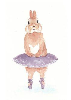 Rabbit Watercolor - Original Painting, Ballet, Animal Illustration, 5x7