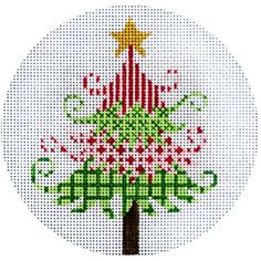 """NEEDLEPOINT HandPainted JP Needlepoint CHRISTMAS Tree Green and Red 4.5"""""""