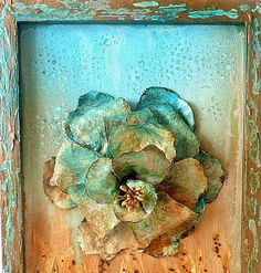 Verdigris Mixed media canvas picture Powertex flower