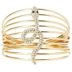 Charlotte Russe Crystal Caged Snake Bracelet found on Polyvore featuring jewelry, bracelets, gold, bangle bracelet, snake bangle bracelet, charlotte russe, crystal charms and charm bangle
