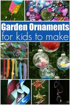 12 Homemade Garden Ornaments your kids will love to make! Easy, inexpensive and gorgeous garden crafts to give as gifts or keep for home! - Happy Hooligans Crafts Add a splash of charm to your yard or patio with these 12 homemade garden ornaments! Kids Crafts, Garden Crafts For Kids, Crafts For Kids To Make, Summer Crafts, Projects For Kids, Easy Crafts, Craft Projects, Science Crafts, Garden Kids