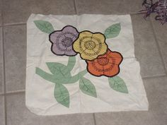 Pretty Vintage Floral Quilt Block or Pillow Top, Hand-stitched. $7.50, via Etsy.