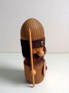 Wood Viking Figure. 1960's Vintage Modernist. by TheGrooveVintage