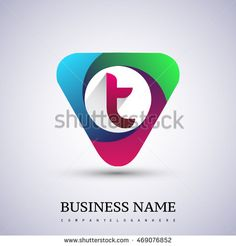 T letter colorful logo in the triangle shape, font icon, Vector design template…