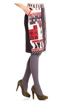 Falda tubo motivos parisinos cremallera - Faldas Mujer   Rosalita McGee