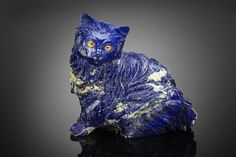 Exceptional Large Lapis Lazuli Carving of a Cat