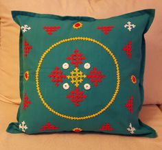 Green Cotton Cushion Cover, Sindhi Embroidery, Kutch Work, 15 inches X 15 inches cm x 36 cm) in colour of your choice by KalaaStudio on Etsy Cushion Embroidery, Hand Embroidery Dress, Hand Embroidery Tutorial, Embroidery Works, Hand Embroidery Patterns, Embroidery Stitches, Kutch Work Designs, Cushion Cover Designs, Embroidery Techniques
