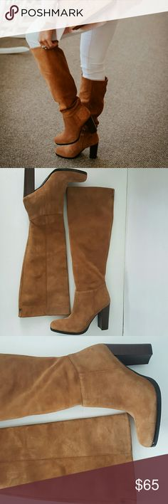 """Sam Edelman Brown Suede Victoria Tall Boots Sam Edelman Victoria Slouch Boot Size: 9 Color: Camel Retail: $170 Condition: Never worn outside.  Mild signs of wear with some matting and fading/spots of the suede from in store use A tall, stacked heel brings a fresh, contemporary look to a lush suede boot in a classic knee-high silhouette. Wear it slouched for a cool, casual look. - Round toe - Suede construction - Stacked block heel - Pull-on style - Approx. 18"""" shaft height, 16"""" opening…"""