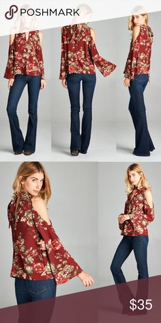 Floral Cutout Shoulder Choker Top - Burgundy Cold shoulder floral choker top with keyhole front and tie back.  These are the perfect fall colors! Tops Blouses