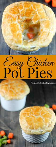 An easy recipe for Chicken Pot Pies. Enjoy this delicious comfort food and make individual chicken pot pies yourself using puff pastry for the crust.
