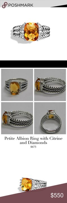 💛David Yurman Albine Citrine & Diamond Ring💛! Beautiful David Yurman citrine & Diamond sterling silver ring ! Absolutely beautiful & in great condition , hardly worn 💛! Size 5.5 but I would say 5 to give alittle extra room for your comfort in case your hands swell alittle or just so it doesn't fit tight , tight ! Come with the original pouch .Any Q's feel free to tag me 😊💛! Thanks for p👀king in my closet 😍!! David Yurman Jewelry Rings