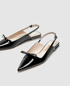 FLAT SLINGBACK SHOES WITH BOW DETAIL-View all-SHOES-WOMAN | ZARA United States Flat Slingback Shoes, Shoes Sandals, Flat Shoes, Mode Shoes, Pointed Flats, Shoe Gallery, Mocassins, Only Shoes, Beautiful Shoes