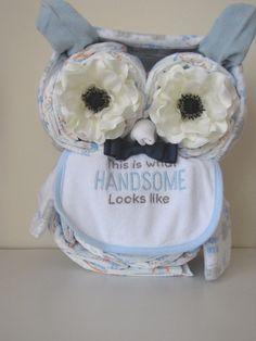 Boy Owl Diaper Cake/ Baby Shower Centerpiece/ Baby Gift on Etsy, $40.00