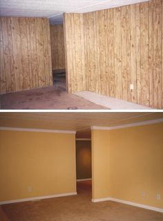 Panelling painted wood and wood paneling on pinterest Ways to update wood paneling