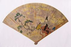 A hiogi (cypress wood fan) from the heian era with a painting of a family in heian robes.