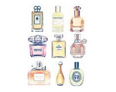 9 Perfumes Print from Watercolor Painting - Chanel No 5, Miss Dior, Jo Malone, Versace, Flowerbomb, Diptyque